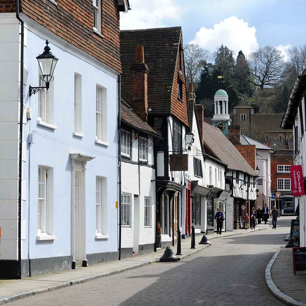 A colour image of the historic town of Godalming, Surrey - Plumber Godalming Elements